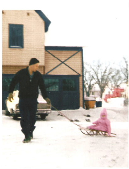 """Daddy and me (1 year) """"sledding"""" in the backyard"""